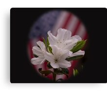 American Beauty ~ American Flag with White Azalea Flowers Canvas Print