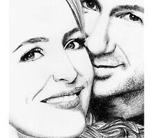 Gillian Anderson and David Duchovny - charcoal drawing by fabslounge
