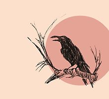 Crow version 3 pink illustration by JamesPeart