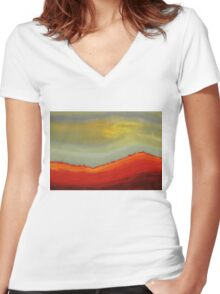 Canyon Outlandish original painting Women's Fitted V-Neck T-Shirt