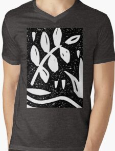 Black and White Garden 1 Mens V-Neck T-Shirt