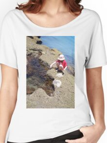 Girl Crouching By Pool Women's Relaxed Fit T-Shirt
