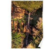Bridal Veil - Govetts Leap Falls , Blackheath Blue Mountains World Heritage Area - The HDR Experience Poster