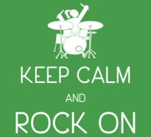 Keep Calm and ROCK ON, Drummer Girl! (in white) One Piece - Short Sleeve