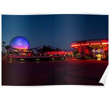 Epcot's Hub at Night Poster