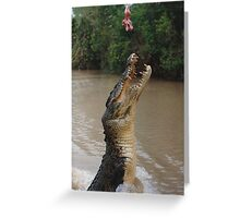 Jumping Crocodile Greeting Card
