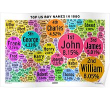 Top US Boy Names in 1880 - White Poster