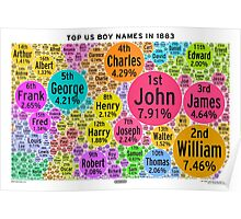 Top US Boy Names in 1883 - White Poster