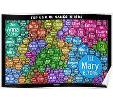Top US Girl Names in 1884 - Black Poster