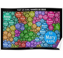 Top US Girl Names in 1885 - Black Poster