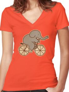 Elephant Cycle  Women's Fitted V-Neck T-Shirt