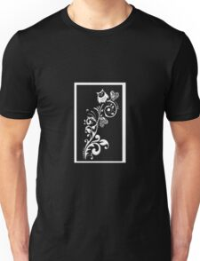 Owl on a Branch Pattern (White on Black) (4690 Views) Unisex T-Shirt