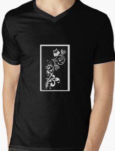 Owl on a Branch Pattern (White on Black) (4516 Views) Mens V-Neck T-Shirt