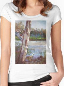 Portrait of a River Gum Women's Fitted Scoop T-Shirt