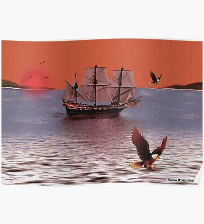 Sunset At Eagle Bay Poster