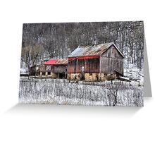 The Rustic Charm of an Old Winter's Barn Greeting Card