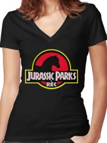 Jurassic Parks and Rec Clean Women's Fitted V-Neck T-Shirt