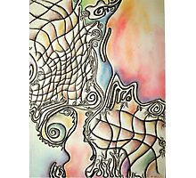 Fishing in a Southern Sea, abstract, pastel on paper Photographic Print