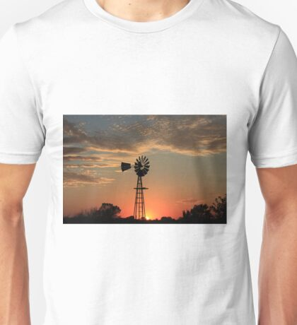 Kansas Country Windmill Blaze Orange Silhouette Unisex T-Shirt