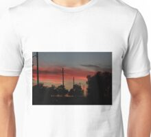 COUNTRY ROAD BLAZING RED SUNSET WITH CLOUD'S AND ROAD Unisex T-Shirt