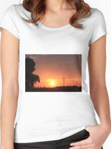 Kansas Blazing Orange Silhouette Sunset Women's Fitted Scoop T-Shirt