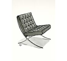 Barcelona chair - Watercolor Painting  Photographic Print