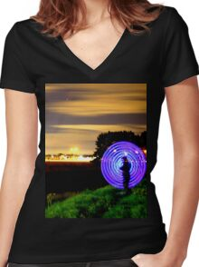 Off In The Distance Women's Fitted V-Neck T-Shirt