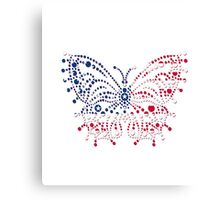 American Patriotic Dots Butterfly Flag  Canvas Print