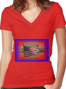 Colorful US Flag on Memorial Day Women's Fitted V-Neck T-Shirt