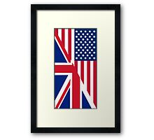 American and Union Jack Flag Framed Print