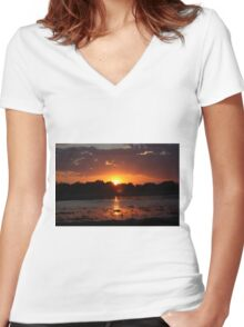 Sunset Reflection on the Water Women's Fitted V-Neck T-Shirt