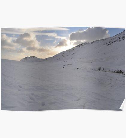 Snow on the Mountains, The Lakes, Cumbria Poster