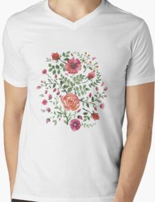 watercolor roses Mens V-Neck T-Shirt