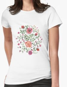 watercolor roses Womens Fitted T-Shirt