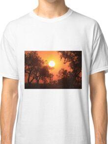 Blaze Orange Kansas Sunset with Tree silhouette's Classic T-Shirt