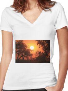 Blaze Orange Kansas Sunset with Tree silhouette's Women's Fitted V-Neck T-Shirt