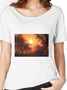 Blaze Orange Kansas Sunset with Tree silhouette's Women's Relaxed Fit T-Shirt