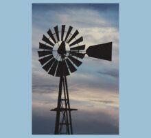 Kansas Windmill Silhouette with Sky One Piece - Short Sleeve