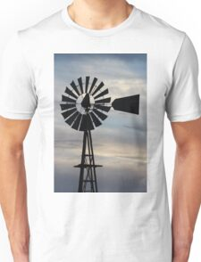 Kansas Windmill Silhouette with Sky Unisex T-Shirt