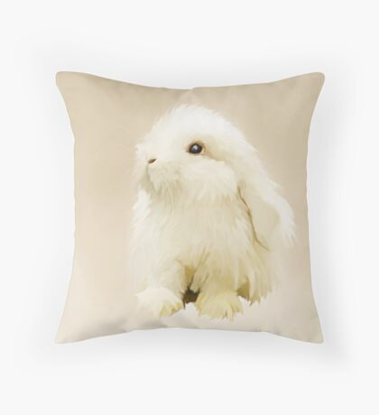 Young White Rabbit Throw Pillow
