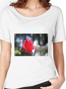 Bright and Colorful RED ROSE close up Women's Relaxed Fit T-Shirt