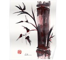 """Crimson in the Mist"" dry brush and India ink bamboo painting Poster"