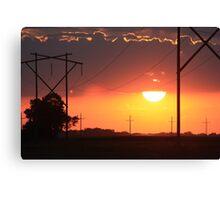 Kansas Blazing Orange Sunset  with cloud's Canvas Print