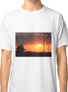 Kansas Blazing Orange Sunset  with cloud's Classic T-Shirt