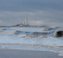 St Marys Lighthouse in a blizzard by Jackie Wilson