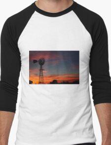 Kansas Colorful Windmill Silhouette Men's Baseball ¾ T-Shirt