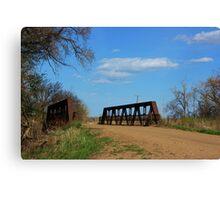 Kansas Country Bridge with Blue sky Canvas Print