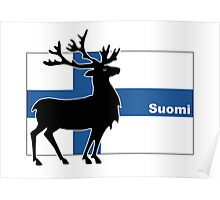 Suomi: Finnish Flag and Reindeer Poster