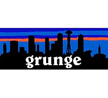 Grunge, Seattle skyline silhouette. Photographic Print