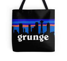 Grunge MUSIC, Seattle skyline silhouette. Tote Bag
